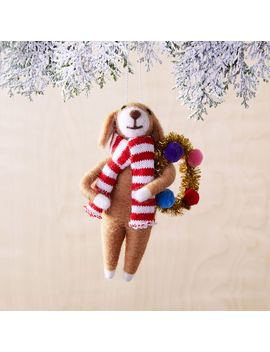 Festive Animal Ornament   Holiday Cheer Dog by West Elm