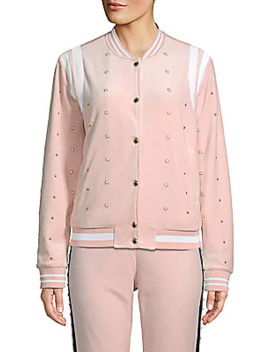 Faux Pearl Embellished Velour Bomber Jacket by Juicy Couture