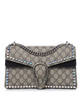 Gucci Gg Supreme Monogram Crystal Small Dionysus Shoulder Bag Black by Gucci