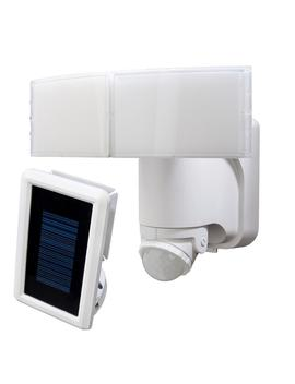180 Degree White Solar Powered Motion Led Security Light With Battery Backup by Defiant