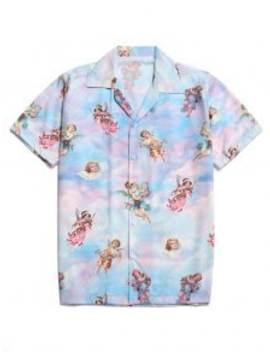 Hot Sale Paradise Floral Angel Print Beach Shirt   Multi S by Zaful