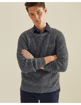 Ambrose Melange Rib Crew Neck Sweater by Jigsaw