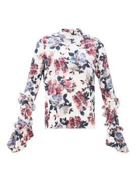 Louella Rose Print Silk Jacquard Blouse by Erdem