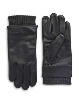 Fleece Lined Leather Touchscreen Gloves by Calvin Klein