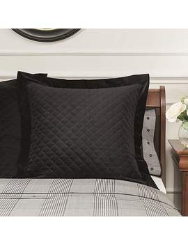 Dorma Kensington Black Velvet Continental Square Pillowcase by Dunelm