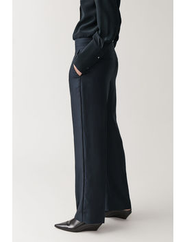 Straight Mulberry Silk Mix Trousers by Cos