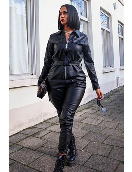 Black Faux Leather Utility Belt Boilersuit   Marlo by Rebellious Fashion