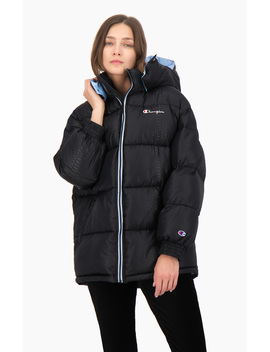 Snake Effect Hooded Puffer Coat by Champion