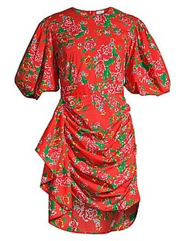 Pia Floral Puff Sleeve Cotton Dress by Rhode