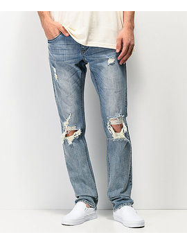 Empyre Skeletor Cirrus Medium Blue Ripped Skinny Jeans by Zumiez