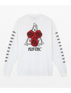 Huf Bones & Roses Triple Triangle White Long Sleeve T Shirt by Zumiez