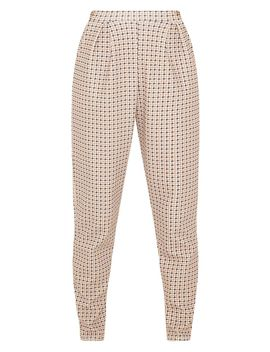 Stone Dogtooth Pleated Cigarette Trousers by Prettylittlething