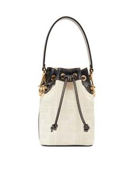 Mon Tresor Mini Ff Logo Jacquard Bucket Bag by Fendi
