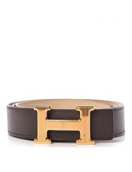 Hermes Chamonix Swift Callandre 32mm H Belt 90 Chocolate Parchemin by Hermes