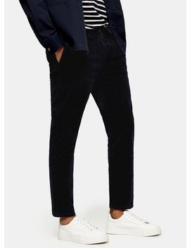 Navy Corduroy Cropped Stretch Skinny Trousers by Topman