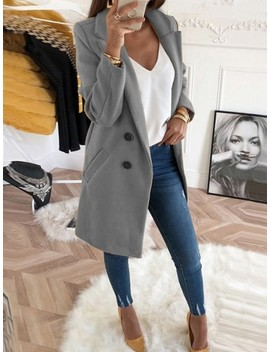 Grey Pockets Buttons Turndown Collar Long Sleeve Wool Coat by Cichic