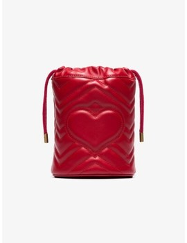Red Gg Marmont Mini Bucket Bag by Gucci