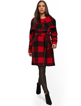 Buffalo Check Wrap Coat by New York & Company