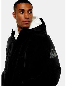 Black Longline Puffer Coat by Topman