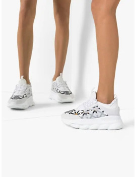 White Chain Reaction Leather Sneakers by Versace