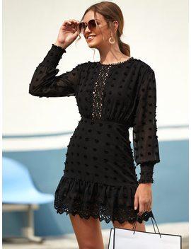Swiss Dot Guipure Lace Hem Fitted Chiffon Dress by Sheinside