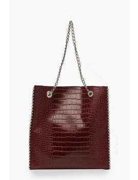 Premium Croc Pu & Metal Bead Tote Bag by Boohoo