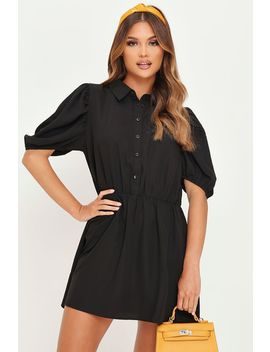 Black Puff Sleeve Skater Shirt Dress by I Saw It First