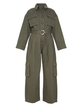 Khaki Oversized Cropped Denim Boilersuit  by Prettylittlething