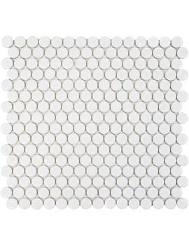 Hudson Penny Round Glossy White 12 In. X 12 5/8 In. X 5 Mm Porcelain Mosaic Tile (10.74 Sq. Ft. / Case) by Merola Tile