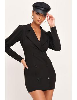 Black Puff Sleeve Blazer Dress by I Saw It First