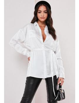 White Satin Tie Waist Shirt by Missguided