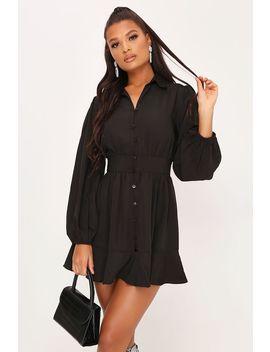 Black Long Sleeve Skater Shirt Dress by I Saw It First