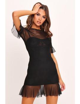 Black Mesh Frill Sleeve Mini Dress by I Saw It First