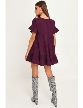 Plum Frill Sleeve Smock Dress by I Saw It First