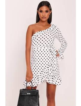 White Polka Dot One Shoulder Frill Sleeve Mini Dress by I Saw It First