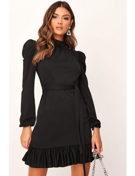 Black High Neck Puff Sleeve Belted Frill Dress by I Saw It First