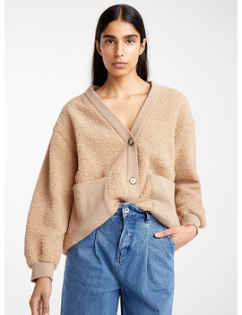 Ribbed Accent Bouclé Cardigan by Icône