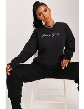 Black Baby Girl Slogan Oversized Sweatshirt by I Saw It First