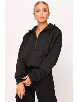 Black Brushed Half Zip Hooded Sweatshirt by I Saw It First