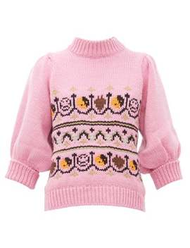 Intarsia Knitted Wool Blend Sweater by Ganni