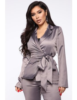 Keeping It Fresh Blazer   Grey by Fashion Nova