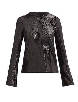 Clara Sequinned Satin Top by Galvan