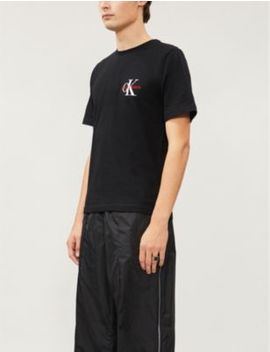 Monogram Logo Embroidered Cotton Jersey T Shirt by Ck Jeans