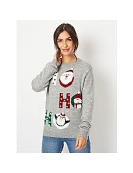 Grey Glitter Ho Ho Ho Slogan Christmas Jumper by Asda