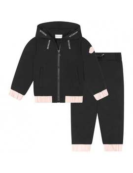 Girls Black & Pink Trim Tracksuit by Moncler
