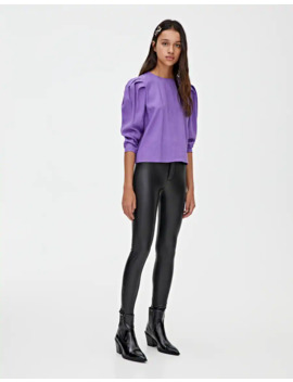 Purple Puff Sleeve T Shirt by Pull & Bear