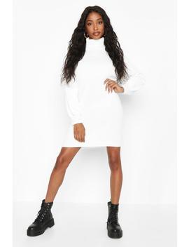 Roll Neck Blouson Sleeve Jumper Dress by Boohoo