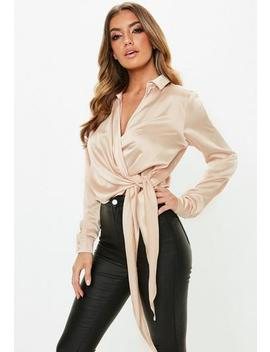 Petite Gold Satin Tie Side Blouse by Missguided