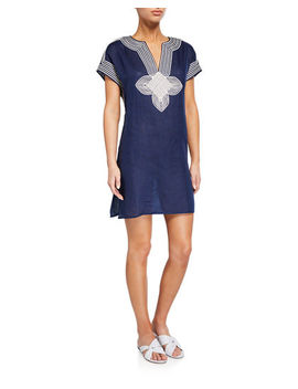 Embroidered Linen Coverup Tunic by Tory Burch