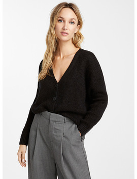 Cropped Mohair Knit Cardigan by Icône
